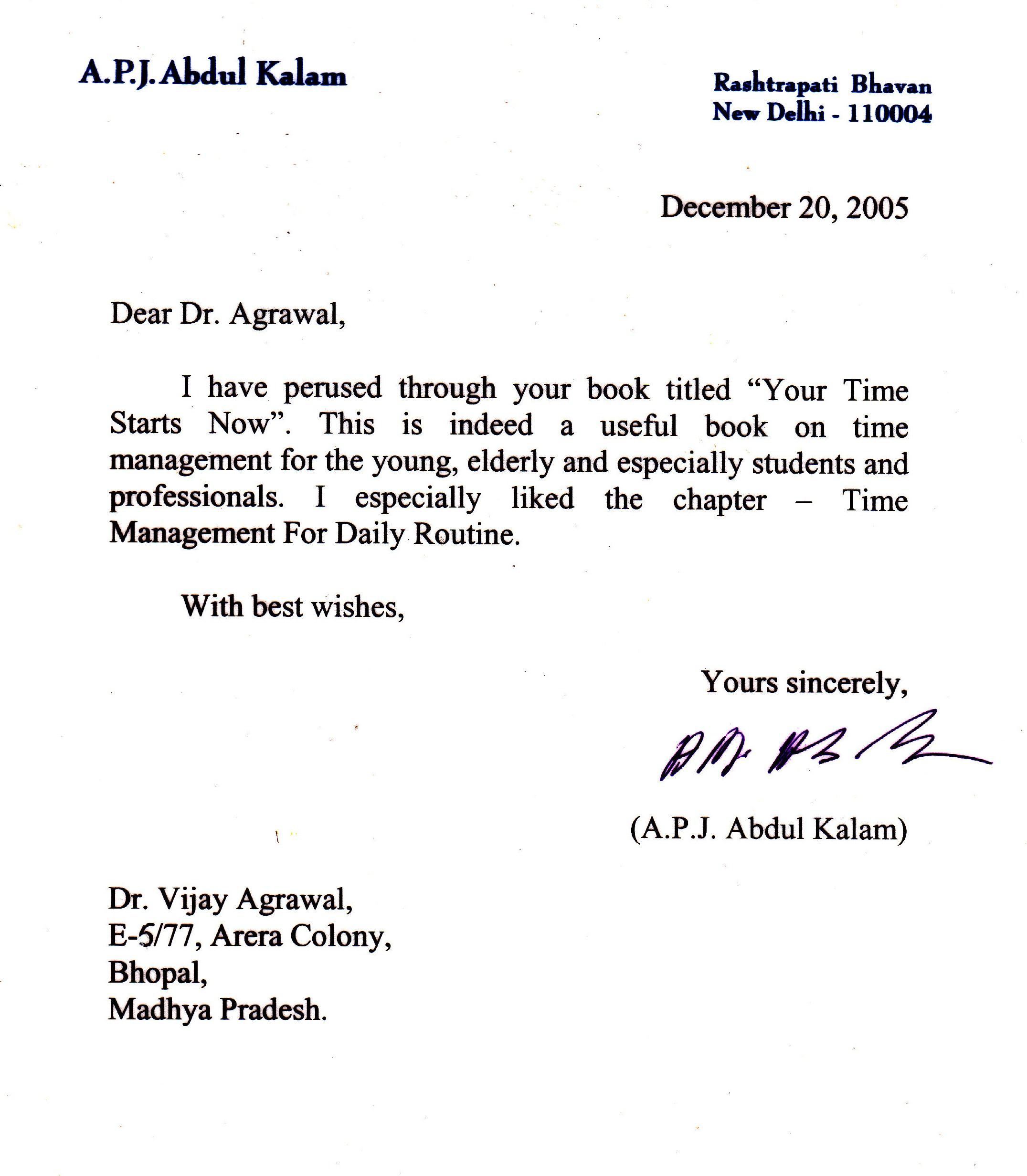 Letter by former President Dr. A.P.J. Abdul Kalam