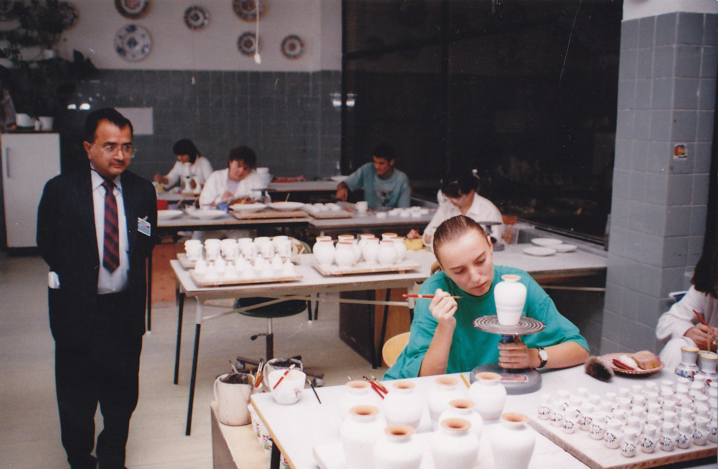 Observing pottery in Czeck during his visit